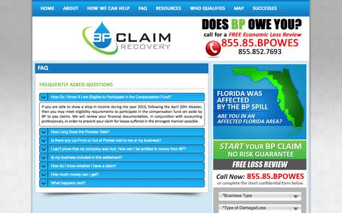 Screenshot of FAQ Page bpclaimrecovery.com - BP Claim Recovery FAQ - captured Sept. 30, 2014