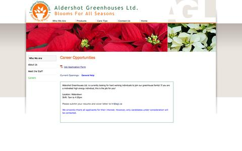 Screenshot of Jobs Page aldershotgreenhouses.com - Aldershot Greenhouses Ltd - Job Opportunitites - captured Feb. 5, 2016