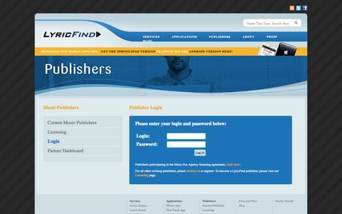 Screenshot of Login Page lyricfind.com - LyricFind - captured Sept. 23, 2014