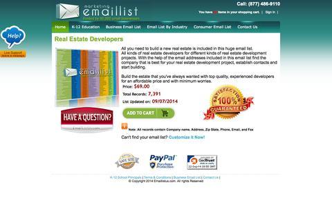 Screenshot of Developers Page emaillistus.com - Real Estate Developers Email List - captured Sept. 23, 2014