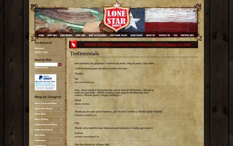 Screenshot of Testimonials Page quality-western-boots.com - Western Boots, Western Apparel, Western Wear, Cowboy Boots - Lonestar Boot Store - captured Oct. 19, 2018