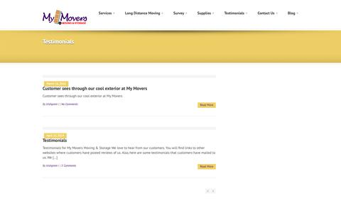 Screenshot of Testimonials Page thepurplemovers.com - My Movers Moving & Storage » Testimonials - captured Oct. 18, 2018