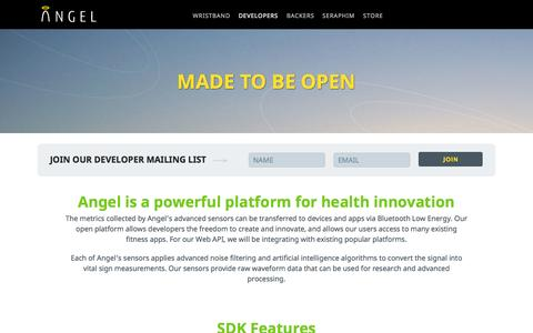 Screenshot of Developers Page angelsensor.com - Made To Be Open   Angel - captured Oct. 1, 2014