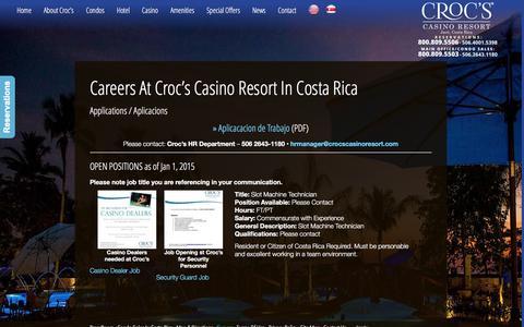 Screenshot of Jobs Page crocscasinoresort.com - Careers at Croc�s Casino Resort in Costa Rica | CrocsCasinoResort.com - captured Dec. 13, 2015