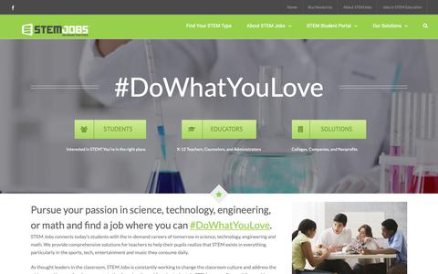 Screenshot of Home Page stemjobs.com - STEM Jobs - Promoting STEM Education and STEM Careers - captured Jan. 16, 2019