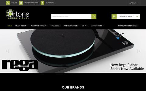 Screenshot of Home Page ortonsaudiovisual.com - Ortons Audio Visual - HiFi, Home Cinema, Multiroom & Custom Install - captured Dec. 21, 2016