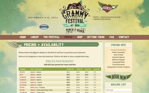 Screenshot of Pricing Page grammyfestivalatsea.com - Pricing & Availability | GRAMMY Festival at Sea - captured Nov. 2, 2014