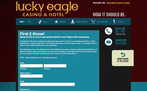 Screenshot of Signup Page luckyeagle.com - Sign Up | Lucky Eagle Casino - captured Oct. 3, 2014