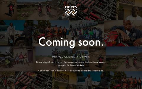 Screenshot of Home Page riders.org - Riders for Health - driving global health - captured Dec. 15, 2018