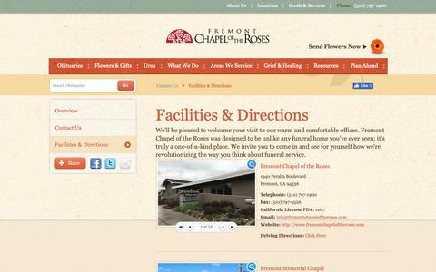 Screenshot of Locations Page fremontchapeloftheroses.com - Facilities & Directions   Fremont Chapel of the Roses - Fremont, CA - captured Nov. 4, 2018