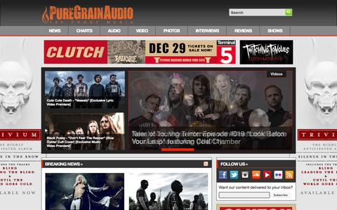 Screenshot of Home Page puregrainaudio.com - PureGrainAudio.com - Rock & Metal News, Free MP3s, Interviews, Reviews, Videos, Contests & More - captured Oct. 17, 2015