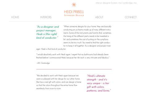 Screenshot of Testimonials Page heidipribell.com - Heidi Pribell • Interior Designer Boston, MA • Testimonials - captured Sept. 20, 2017