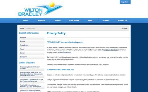 Screenshot of Privacy Page wiltonbradley.com - Wilton Bradley Website Privacy Policy - captured Oct. 26, 2014