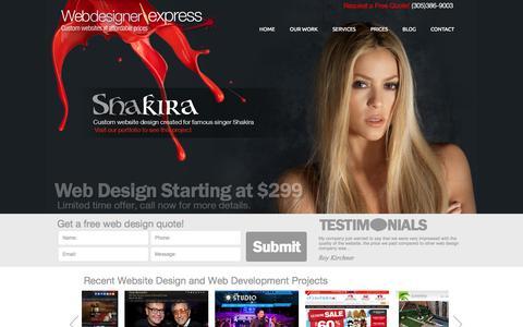 Screenshot of Home Page webdesignerexpress.com - Miami Web Design | Website Design Company | Affordable Web Design - captured June 18, 2015