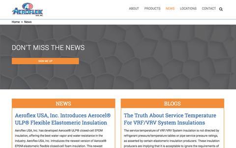 Screenshot of Press Page aeroflexusa.com - News - Aeroflex USA Inc - captured Jan. 16, 2018