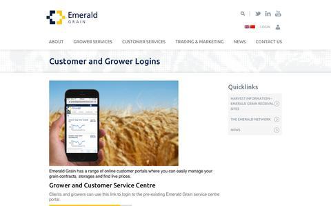 Screenshot of Login Page emeraldgrain.com - Customer and Grower Logins - Emerald Grain - captured Dec. 9, 2015