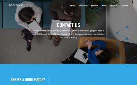Screenshot of Contact Page godfrey.com - Contact Us | B2B Marketing Agency | Godfrey - captured July 4, 2018