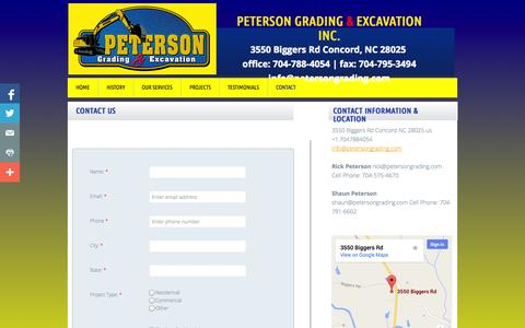 Screenshot of Contact Page petersongrading.com - Contact Peterson Grading & Excavation - captured Oct. 2, 2014