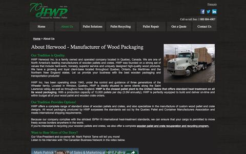 Screenshot of About Page hwppallets.com - About Us |  Manufacturer of Wooden Packaging > Pallets and Crates - captured Oct. 16, 2016