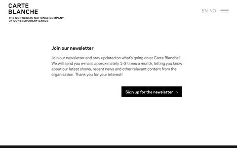 Screenshot of Signup Page carteblanche.no - Carte Blanche |   Newsletter - captured Sept. 27, 2018