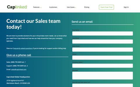 Screenshot of Contact Page caplinked.com - Contact Sales - Modern Virtual Data Rooms | CapLinked - captured May 1, 2019