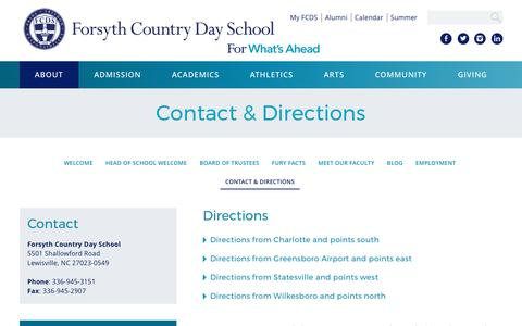 Screenshot of Contact Page Maps & Directions Page fcds.org - Contact & Directions  | Forsyth Country Day School - captured March 29, 2017