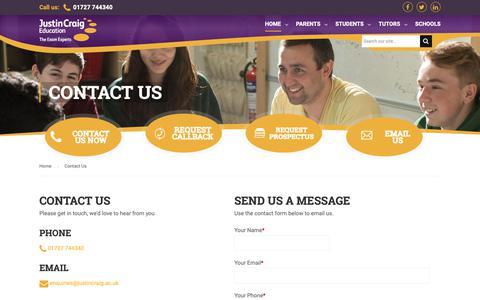 Screenshot of Contact Page justincraig.ac.uk - Contact Justin Craig | GCSE & A Level Revision Courses - captured Oct. 14, 2018
