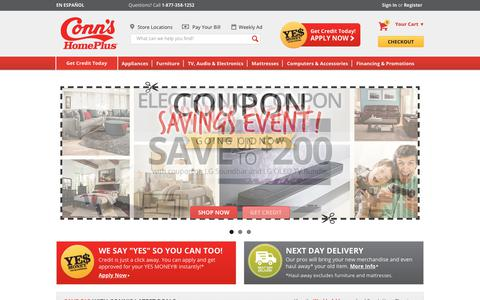 Screenshot of Home Page conns.com - Furniture, Appliances, Electronics, Mattresses & more | Conn's - captured July 21, 2018