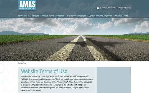 Screenshot of Terms Page aviationmedicine.com - Terms of Use | AMAS - captured Oct. 4, 2014