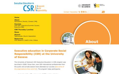 Screenshot of About Page unige.ch - Corporate Social Responsibility - captured Sept. 18, 2014