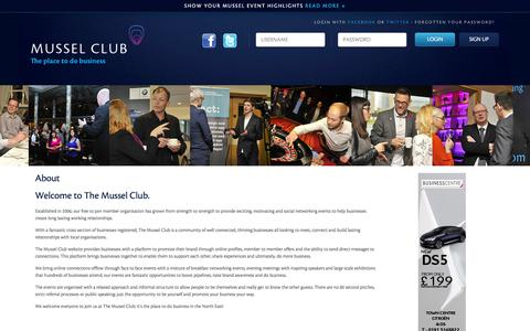Screenshot of About Page themusselclub.com - The Mussel Club | About - captured Feb. 26, 2016