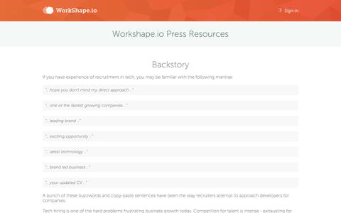Screenshot of Press Page workshape.io - Workshape.io - Talent matching for tech startups - captured Nov. 17, 2015