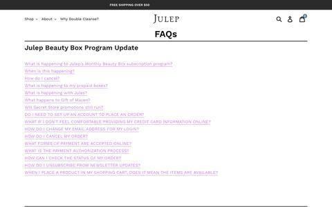 Screenshot of FAQ Page julep.com - FAQs – Julep - captured June 24, 2019