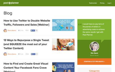 Screenshot of Blog postplanner.com - Post Planner Blog | Facebook Marketing Best Practices, Tips, How-to's - captured Nov. 21, 2015