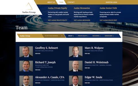 Screenshot of Team Page audaxgroup.com - Audax Group   Team - captured Sept. 30, 2014