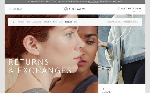 Screenshot of Support Page alternativeapparel.com - Support | Alternative - captured Nov. 3, 2015