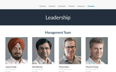 Screenshot of Team Page druva.com - Leadership | Druva - captured June 19, 2019