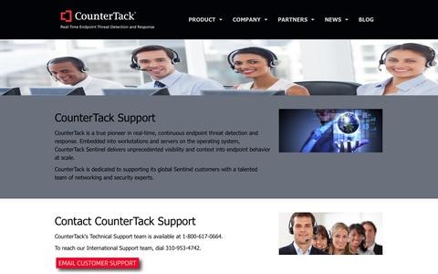 Screenshot of Support Page countertack.com - CounterTack Customer Support - captured Sept. 13, 2014