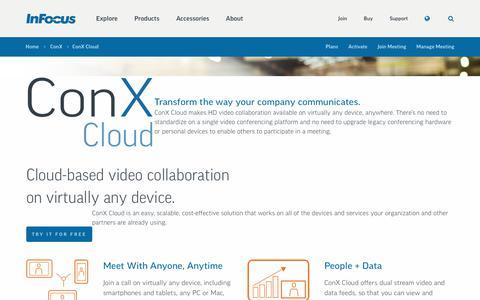 Screenshot of infocus.com - ConX Cloud | InFocus - captured June 10, 2017