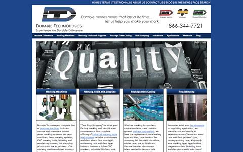 Screenshot of Home Page durable-tech.com - Marking Equipment | Marking Tools | Part Marking | Durable Technologies - captured Oct. 5, 2014