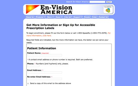 Screenshot of Signup Page envisionamerica.com - Sign Up for Accessible Prescription Labels |  En-Vision America - Assistive Technology for the Blind and Low-vision Community - captured July 14, 2016