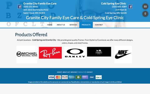 Screenshot of Products Page granitecityfamilyeyecare.com - Eye Disease Treatment | St. Cloud, MN | Granite City Family Eye Care - captured July 3, 2018
