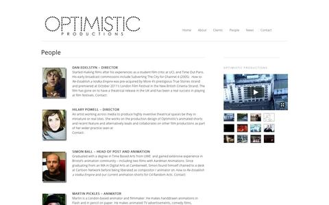 Screenshot of Team Page optimisticproductions.co.uk - People - Optimistic ProductionsOptimistic Productions - captured Aug. 16, 2015