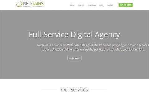 Screenshot of Home Page netgains.org - Web Design Development & Internet Marketing Company India - captured Sept. 23, 2014