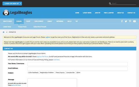 Screenshot of Contact Page legalbeagles.info - Contact Us -   LegalBeagles Forum - captured July 17, 2018