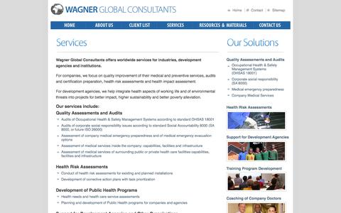 Screenshot of Services Page wagnerglobalconsultants.com - Wagner Global Consultants | Services - captured Feb. 15, 2016