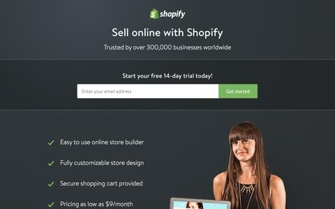 Screenshot of Landing Page shopify.com - Create your online store today with Shopify - captured Oct. 21, 2016