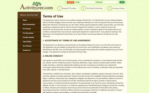 Screenshot of Terms Page activitytree.com - Kids Classes, Lessons & Camps | Terms of Use - captured Sept. 19, 2014