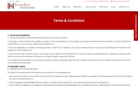 Screenshot of Terms Page inventivenetworks.com - Terms & Conditions - Web Design & Development Company India - captured July 6, 2018