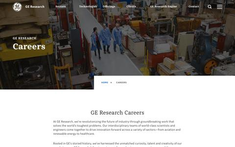 Screenshot of Jobs Page ge.com - Careers | GE Research - captured Aug. 13, 2019